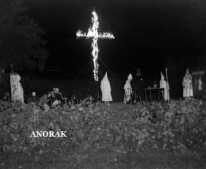 Klu Klux Klan at rally, note women members