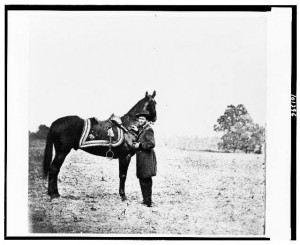 General Ulysses S. Grant and his warhorse, Cincinnati. Neither Grant nor Cincinnati ever flinched in battle even though bullets whizzed all around them. All remarked they had never seen two so composed and brave!! Cincinnati lived out his life retired to pasture.