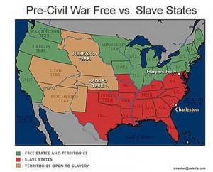 Map showing Missouri jutting up into free states